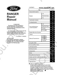 Ford Ranger Service Manual, Repair Manual, Body Repair Manual