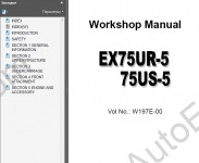 Hitachi EX75UR-5/75US-5 excavator Workshop Service Manual workshop service manual excavators Hitachi EX75UR-5/75US-5, electrical wiring diagram, hydraulic schematic, troubleshooting manual