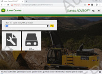 John Deere Service Advisor 5.2 Construction & Forestry Service Advisor 5.2 CF, workshop service manual, repair manual, dealer technical assistance, diagnostics, connection readings, calibrations, interactive tests, specification, tools, assemble and disassemble presented all models John Deere Construction Equipment and Hitachi, Euclid, Bell and Timberjack